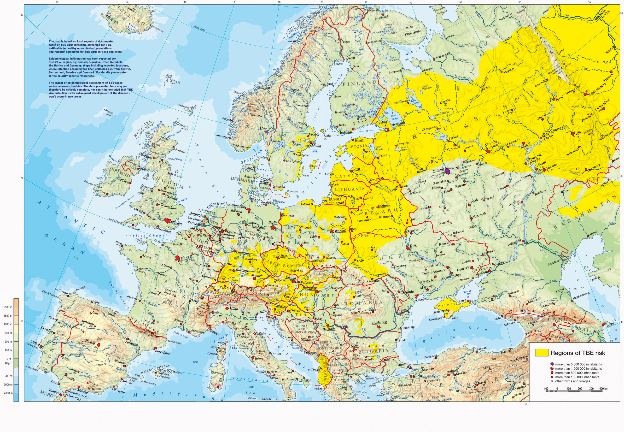 Incidents of Tick Borne Encephalitis in Europe East Asia and – Europe Map Russia