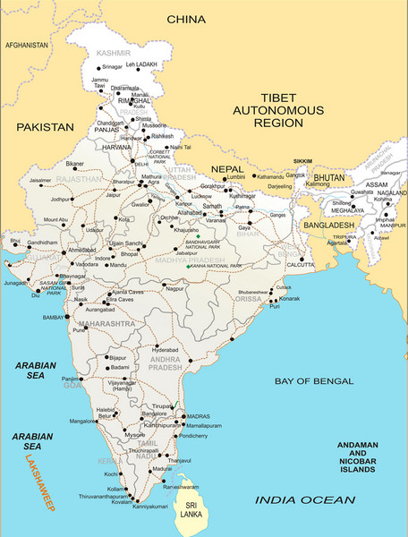 Beautiful Fullsize India Map