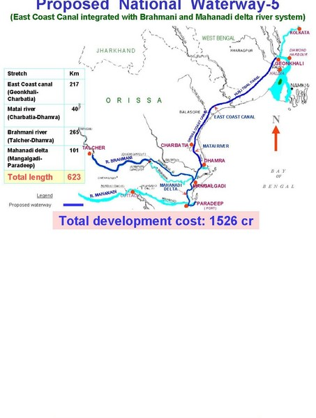 India Proposed National Waterway -5 Map