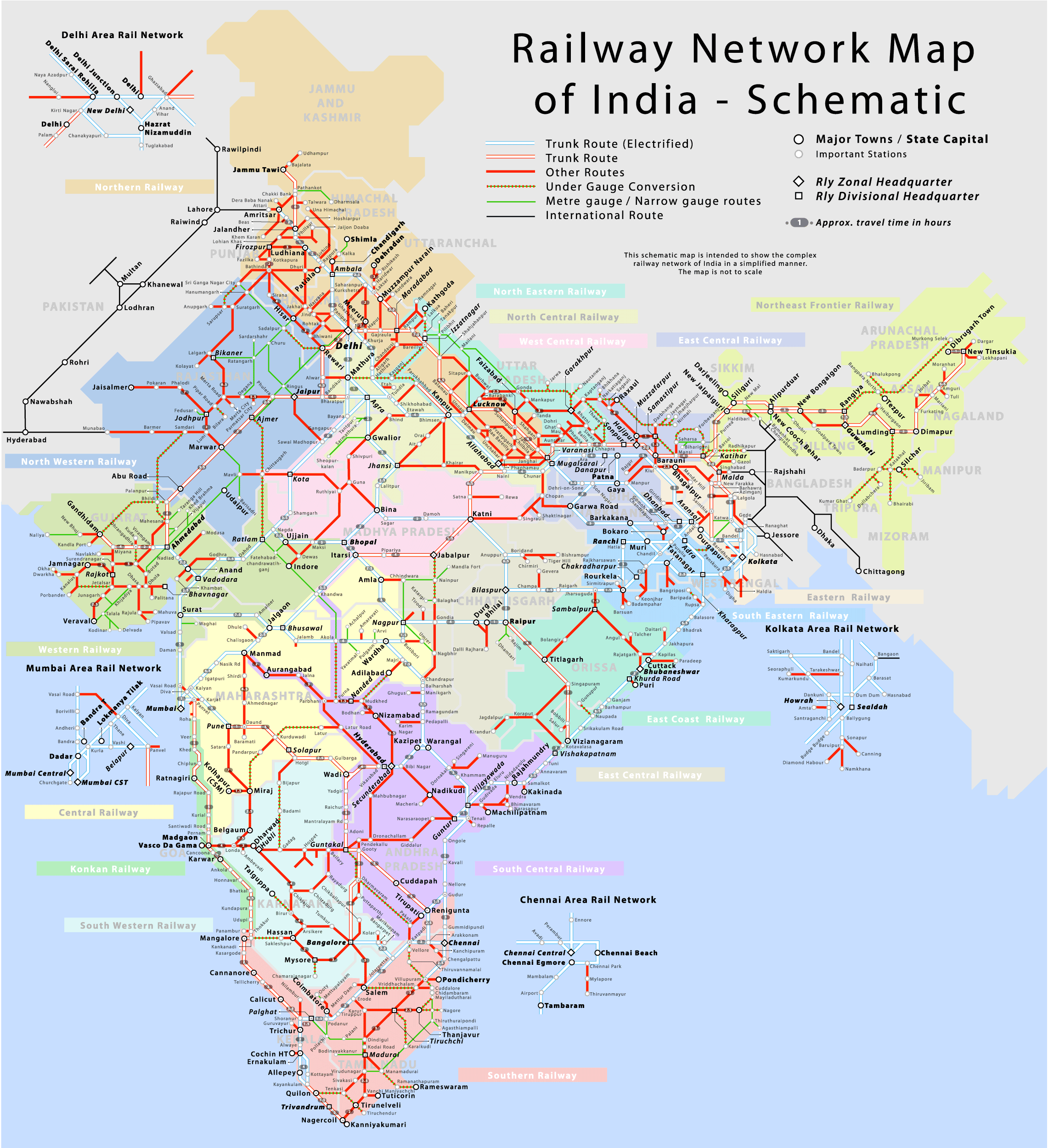 India Railway Network Schematic Map See map details From indiamike.com