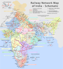 India Railway Network Schematic Map