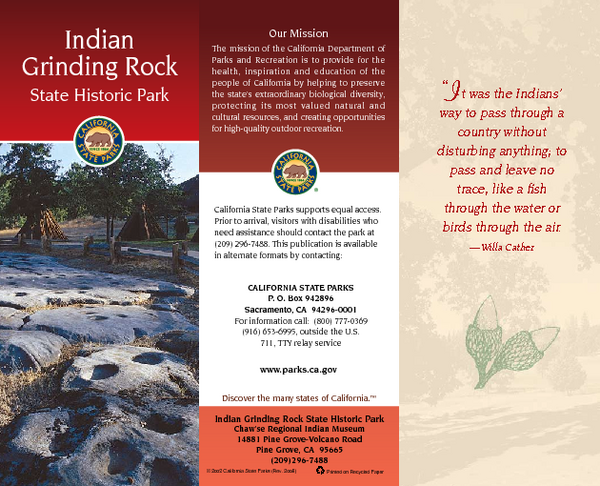 Indian Grinding Rock State Historic Park Map