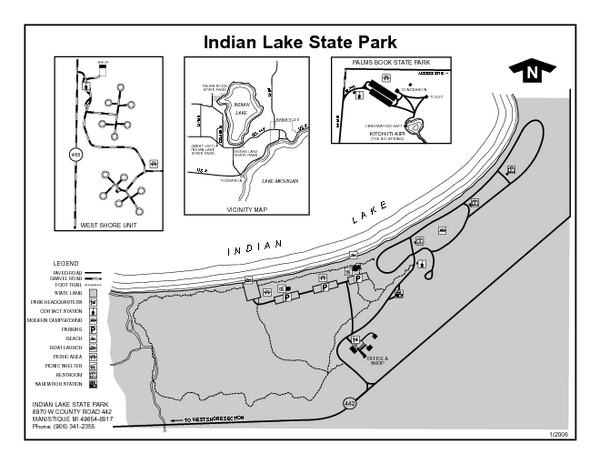 Indian Lake State Park, Michigan Site Map
