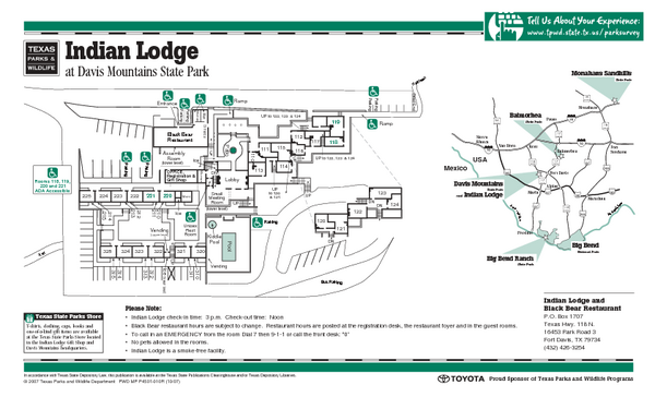 Indian Lodge, Texas State Park Location and Room Map