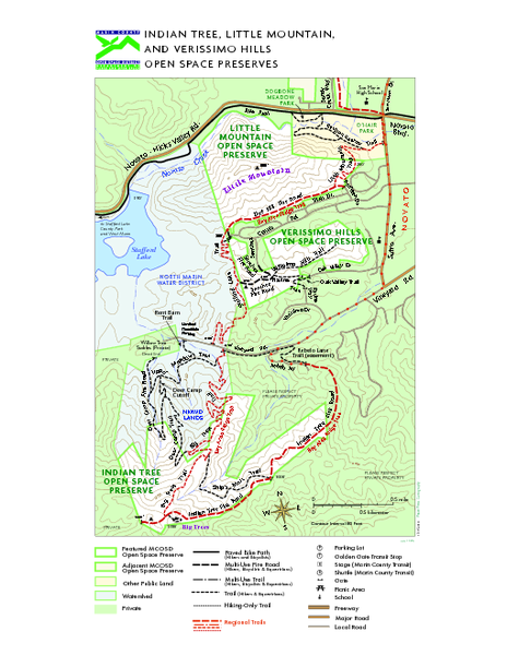 Indian Tree, Little Mountain, and Verissimo Hills Open Space Preserves Map
