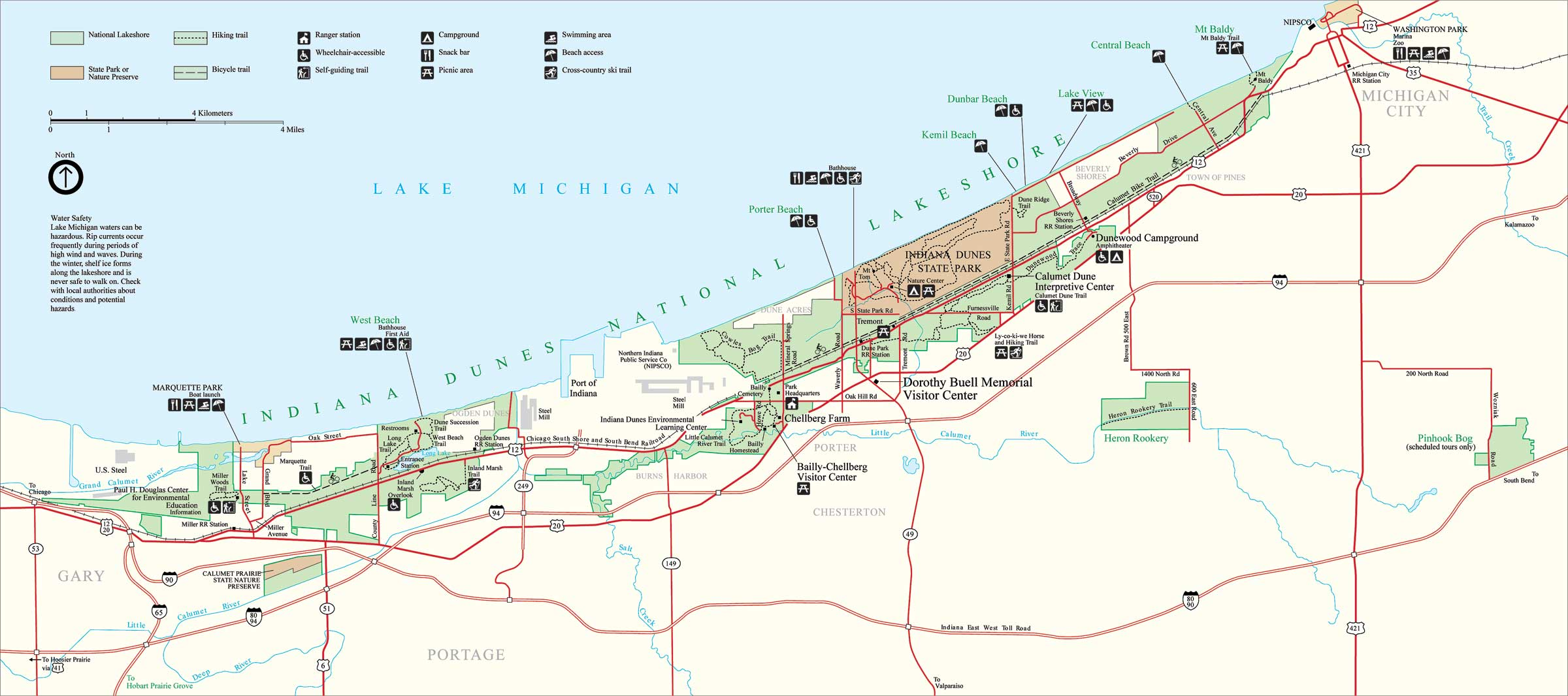 Indiana Dunes National Park Map Michigan City Indiana USA Mappery - Indiana map of usa