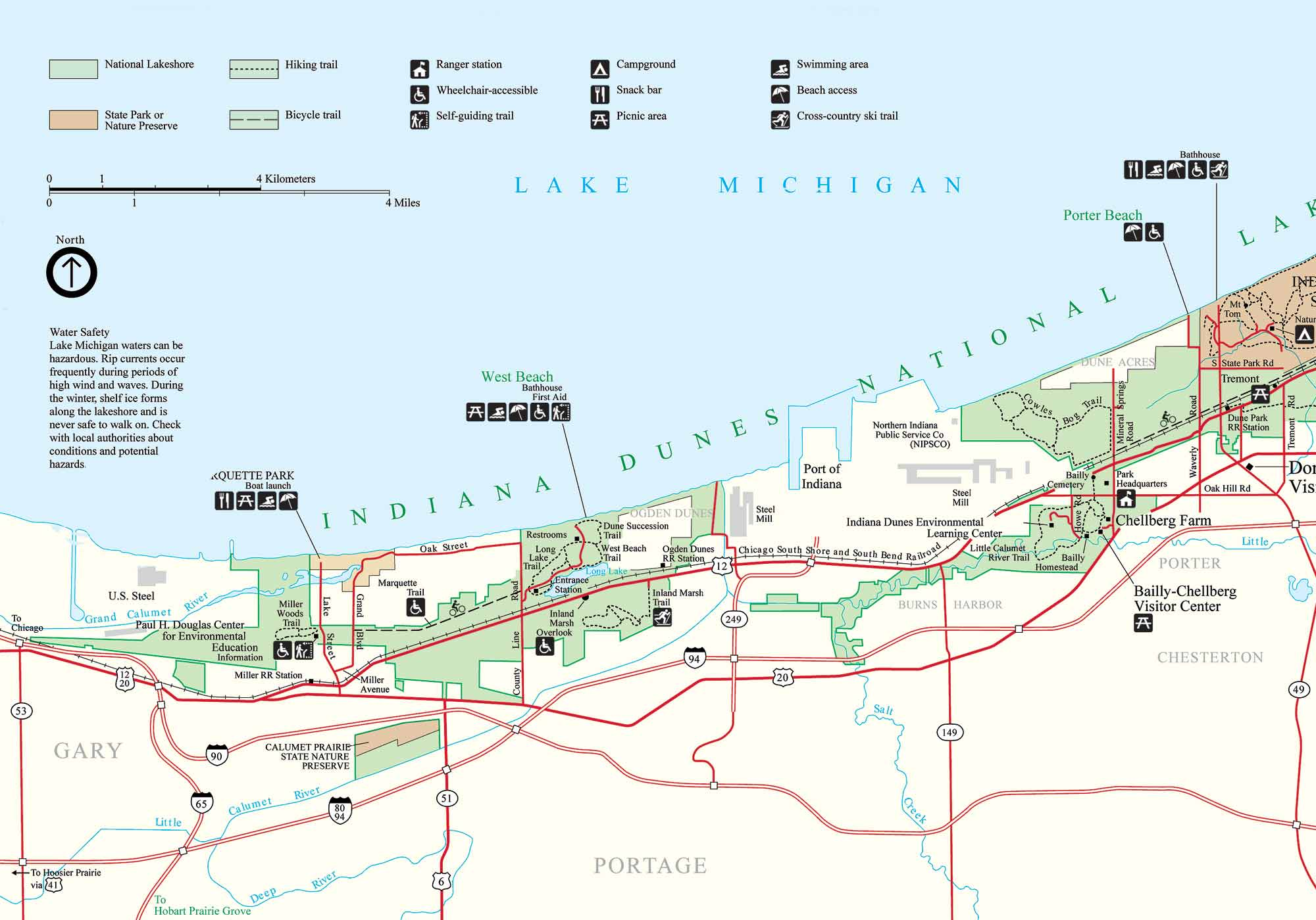 Indiana Dunes Park Map Gary Indiana USA  Mappery - Indiana on a map of the usa