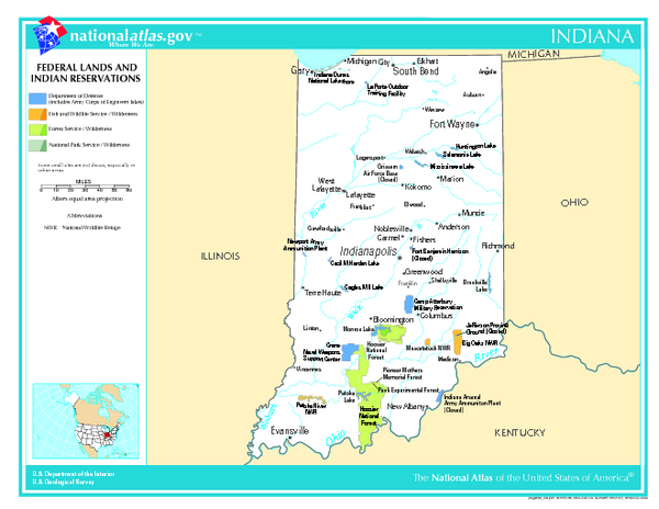 Indiana - Federal Lands and Indian Reservations Map