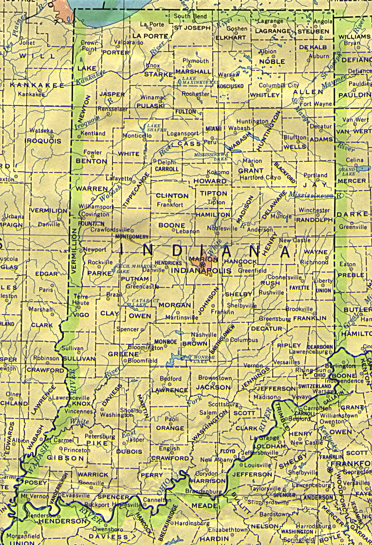 Indiana Map  Indiana  Mappery