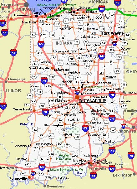 Indiana Road Map  Indiana  Mappery