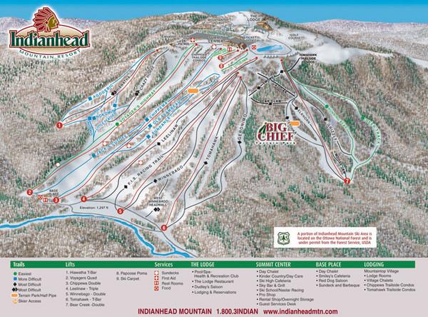 Indianhead Mountain Resort Ski Trail Map Wakefield Michigan United