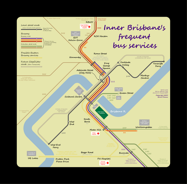 Inner Brisbane bus guide Map