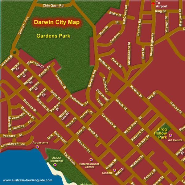 Darwin Map Of Australia.Inner Darwin Australia City Map Darwin Australia Mappery