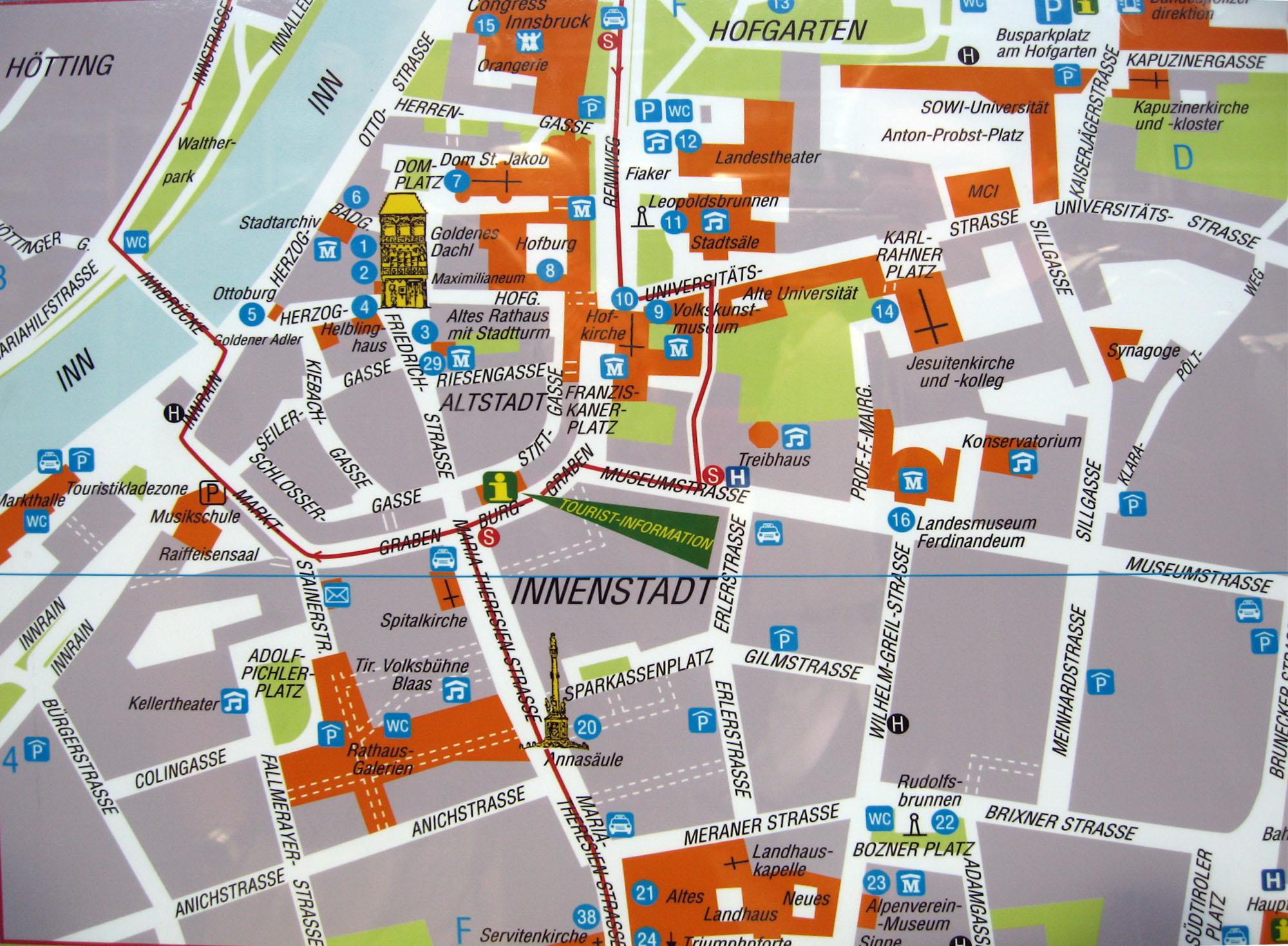 Salzburg Christmas Market Map.Innsbruck Tourist Map Innsbruck Austria Mappery