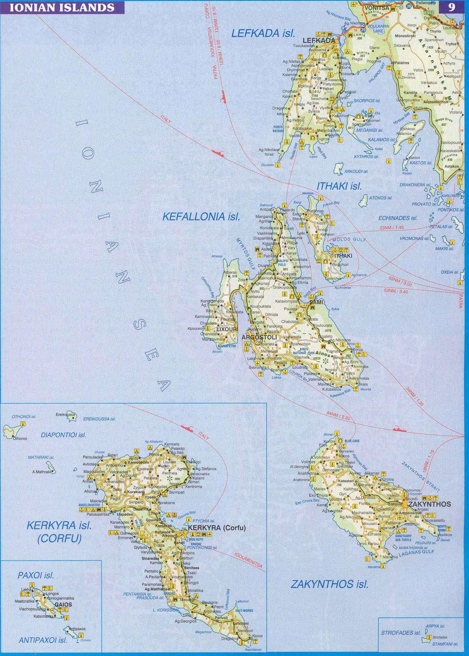 Ionian Islands Map Ionian Islands Greece mappery