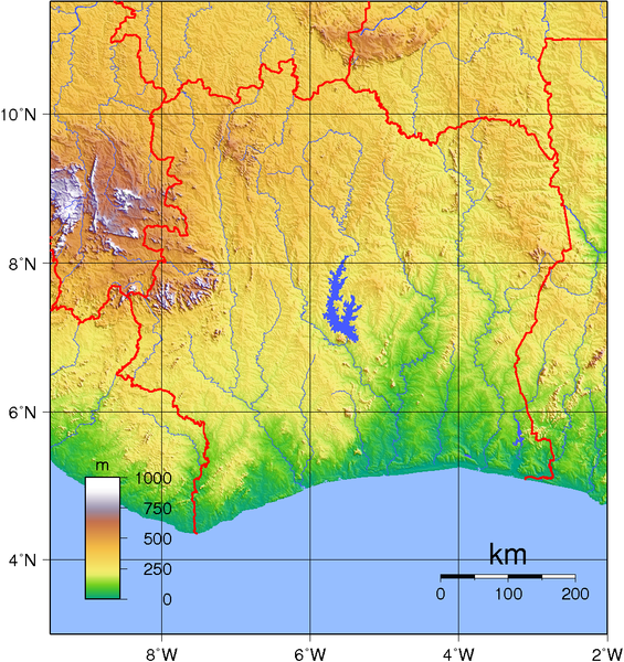 Iory Coast Topography Map