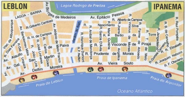 Ipanema Leblon Street Map Ipanema RJ Brazil mappery