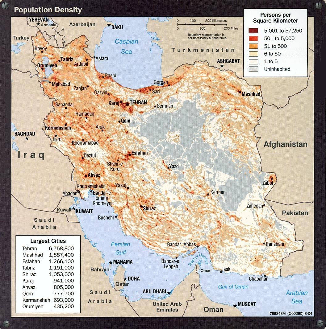Iran Population Density Map Iran Mappery - Iran map