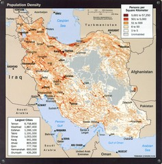 Iran Population Density Map