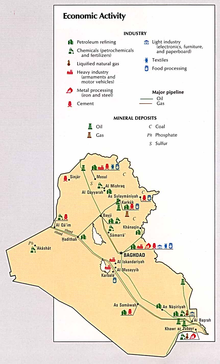 Iraq Economic Activity Map Iraq mappery