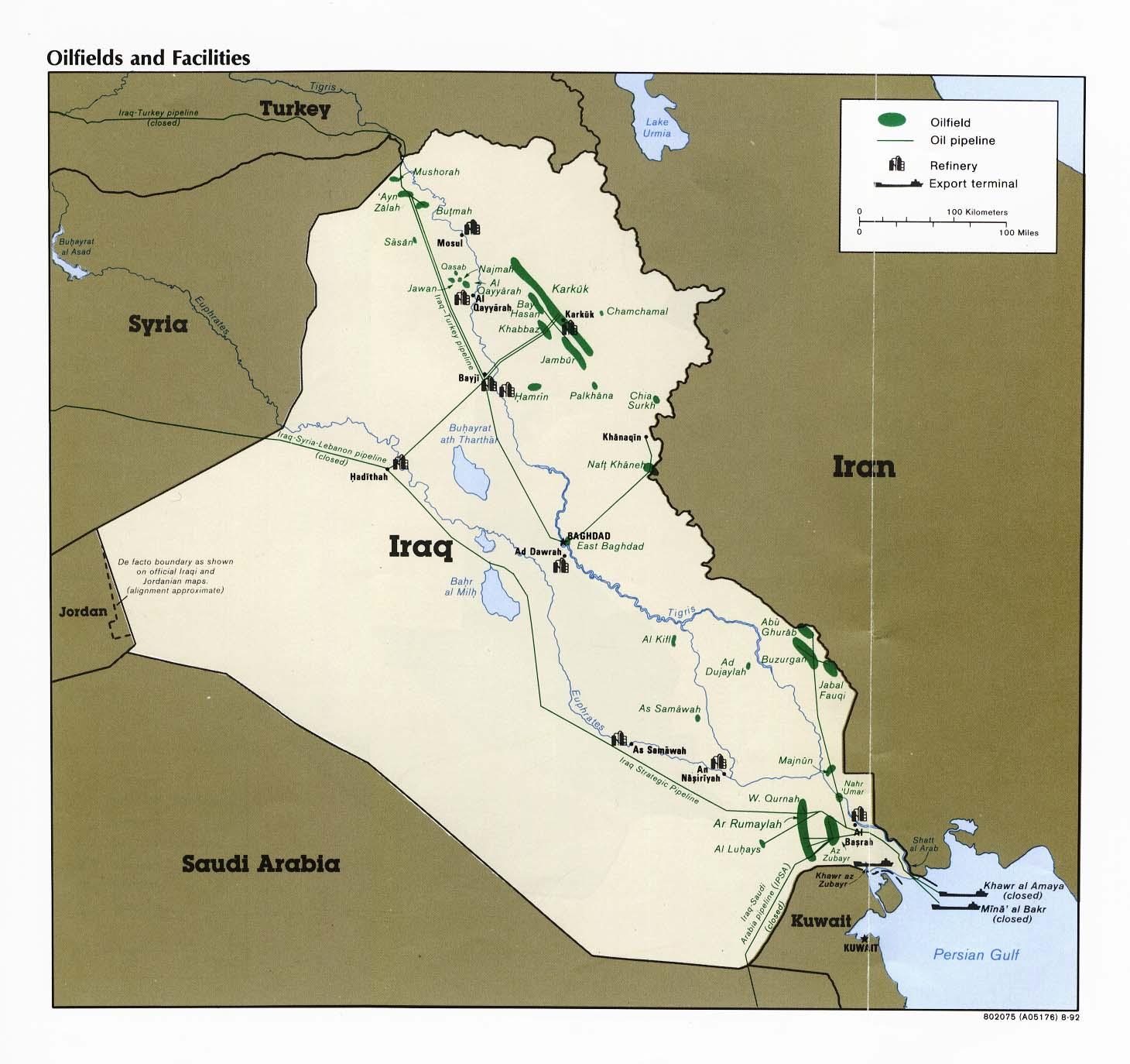 {Iraq Oilfields and Facilities Map Iraq mappery – Map of Iraqi Oil Fields