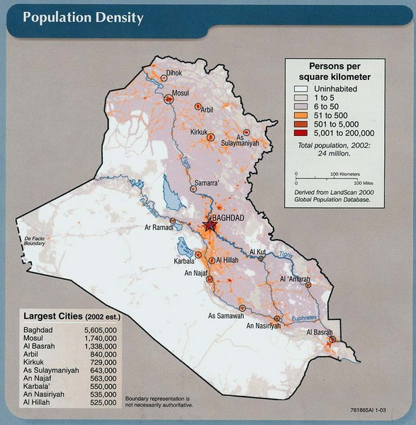 Iraq Population Density Map