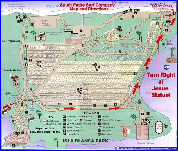 Isla Blanca Park Map Isla Blanca Park Mappery