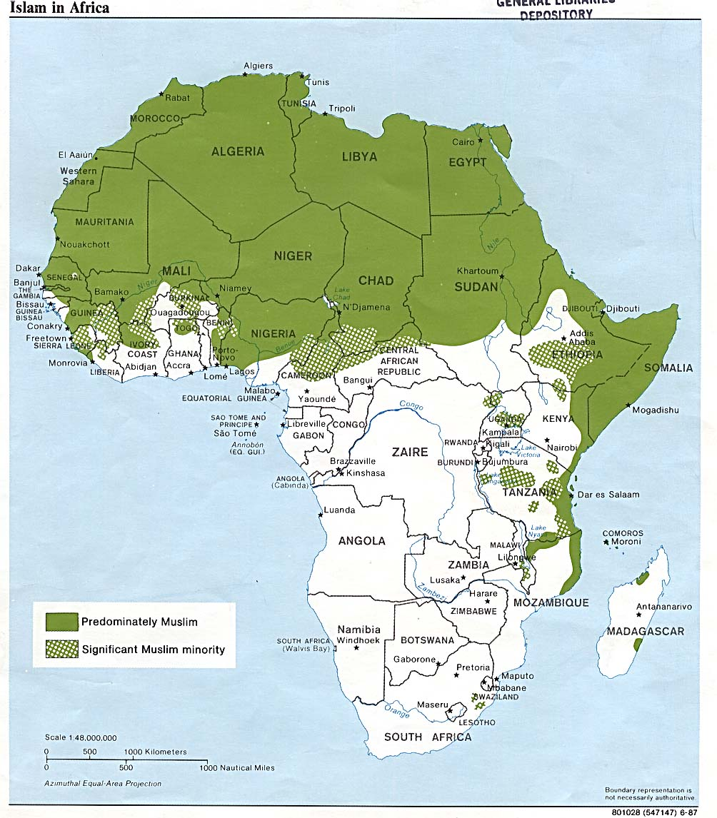 Islam in africa map see map details from lib utexas edu created 1987