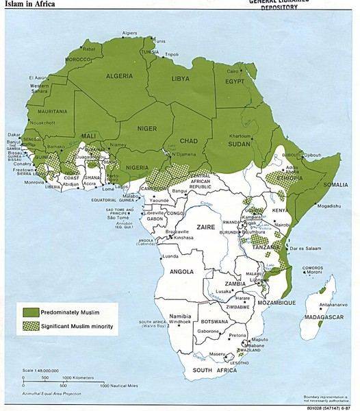 Islam in Africa Map   Africa • mappery