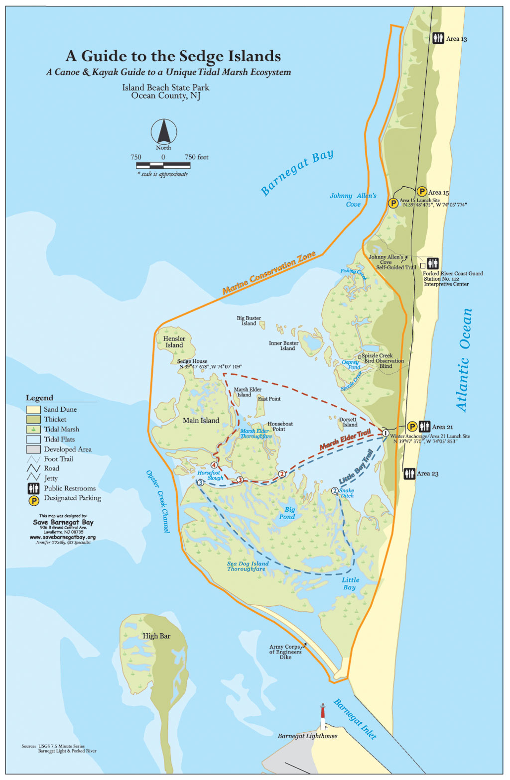 Island beach state park canoe and kayak map barnegat bay for Island beach state park fishing