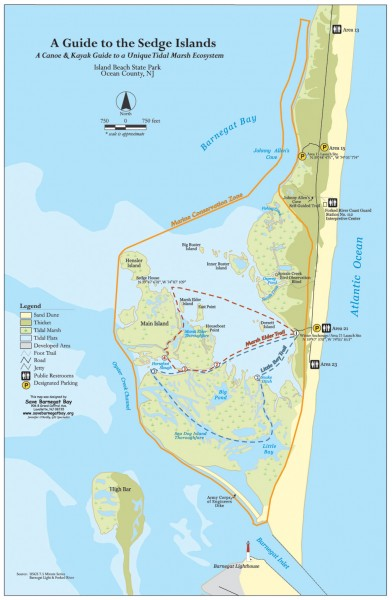Island beach state park canoe and kayak map barnegat bay for Ibsp fishing report