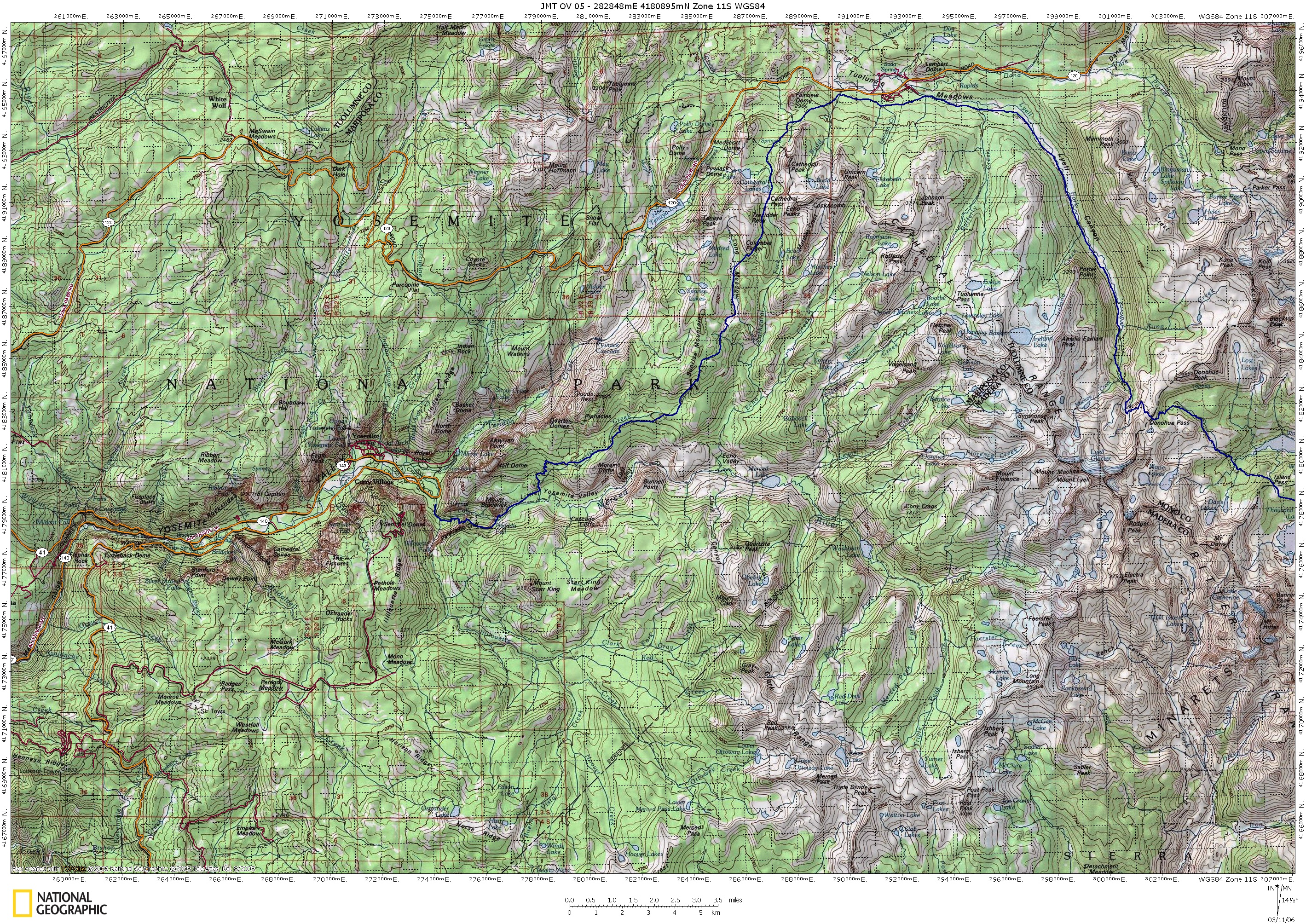 Island Pass to Yosemite Village Topo Map   Yosemite Village • mappery