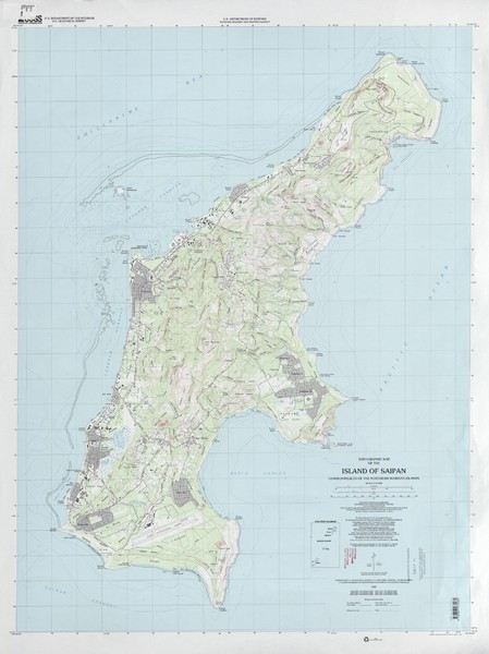 Island of Saipan Toopgraphic Map