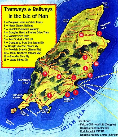Isle Of Man Railways And Trams Map Mappery - Isle of man map