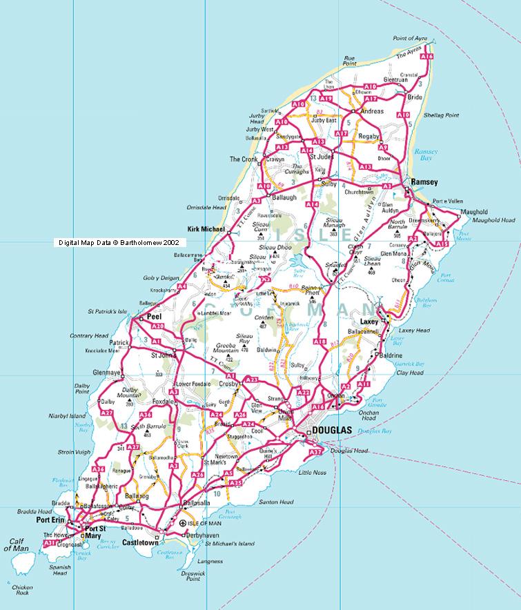 Isle of Man roads Map mappery