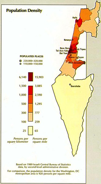 Israel Population Density Map