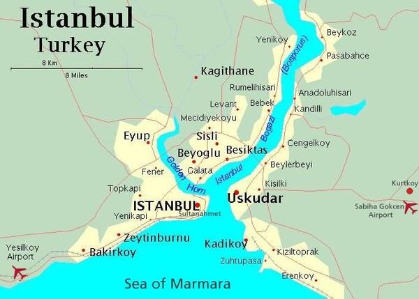 Istanbul Bosphorus Map istanbul mappery