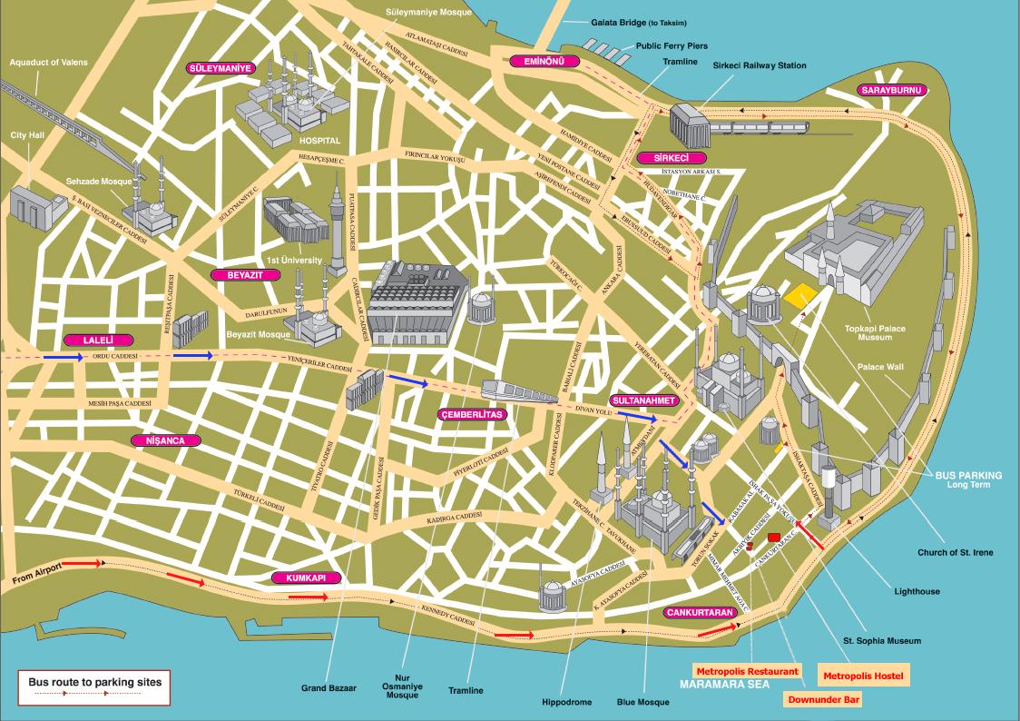 Istanbul Tourist Map Istanbul Turkey mappery