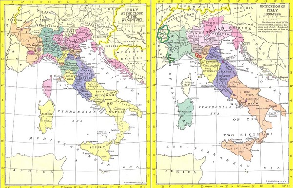 Fullsize Italy Historic Political Map 15th Century and 1859-1924