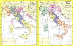 Italy Historic Political Map 15th Century and 1859-1924