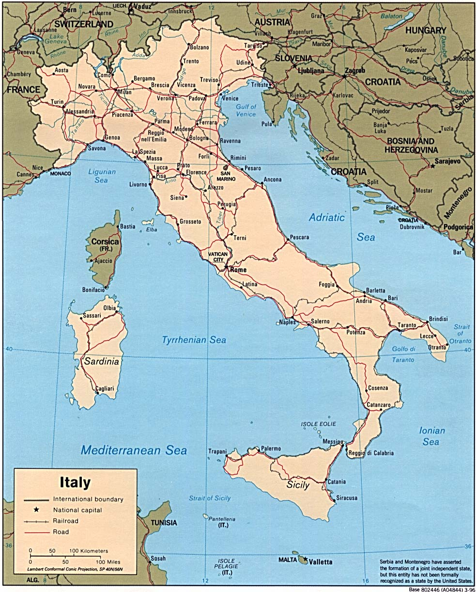 Road Map Of Northern Italy.Italy Road Map Italy Mappery