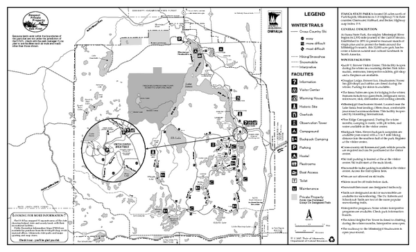 Itasca State Park Winter Map