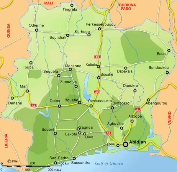 Ivory Coast Map - Ivory Coast Africa • mappery