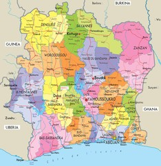 Ivory Coast Political Map