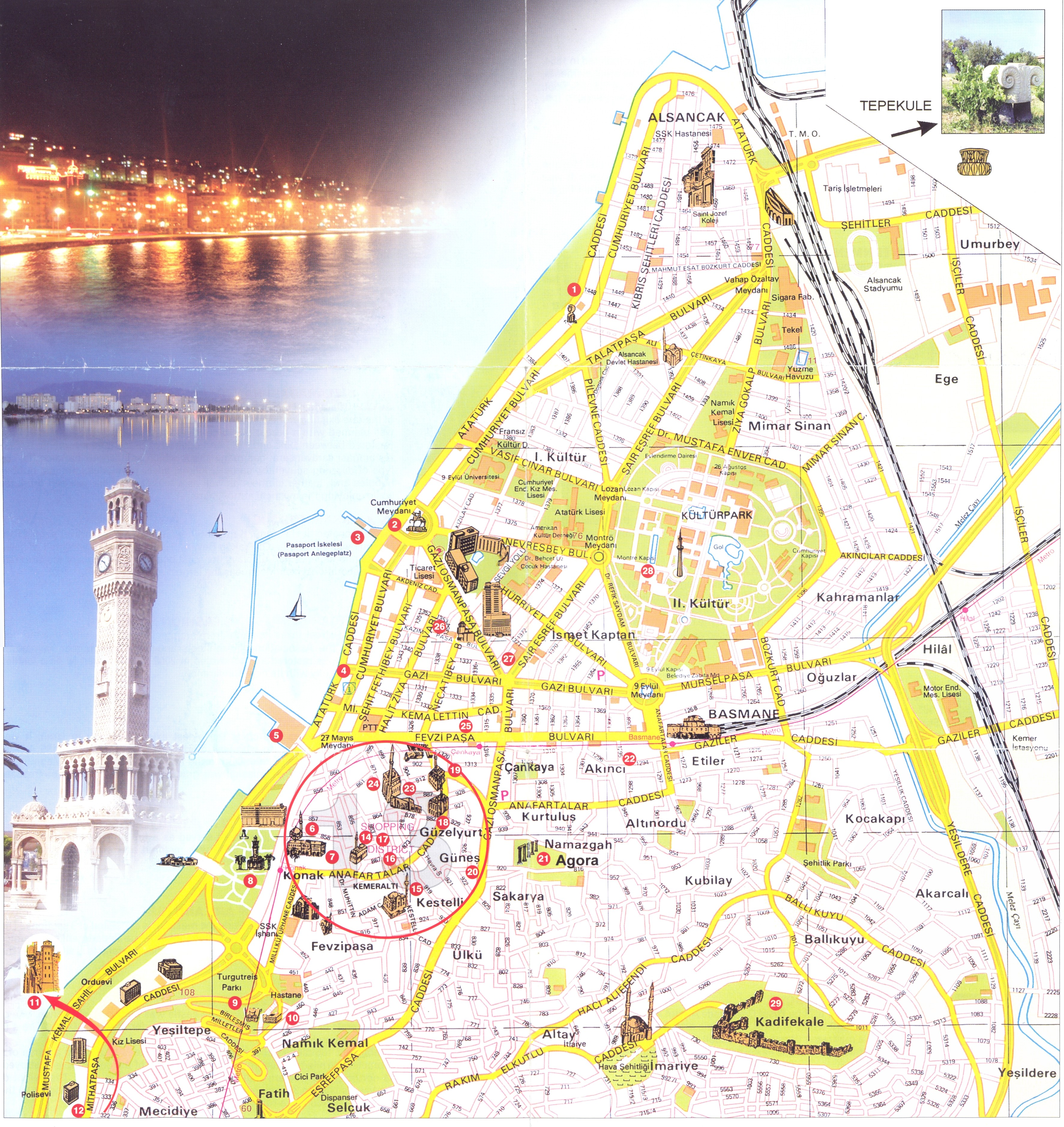 Izmir center Map izmir mappery