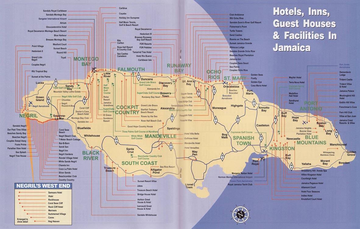 Jamaica Hotel Map  Jamaica  mappery