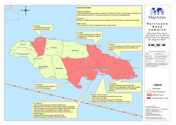 Fullsize Jamaica Hurricane Dean Map 2007