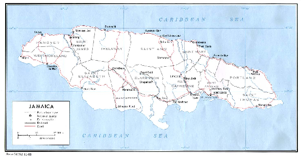 Jamaica (Political) 1968 Map