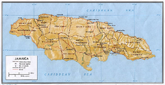 Jamaica (Shaded Relief) 1968 Map