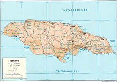 Jamaica (Shaded Relief) 2002 Map